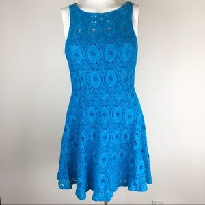 BB Dakota Dress 8 Blue Lace Fit and Flare, Lined